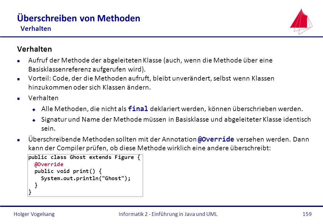 Holger VogelsangInformatik 2 - Einführung in Java und UML159 Überschreiben von Methoden Verhalten Verhalten n Aufruf der Methode der abgeleiteten Klas