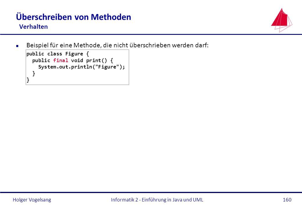 Holger VogelsangInformatik 2 - Einführung in Java und UML160 Überschreiben von Methoden Verhalten n Beispiel für eine Methode, die nicht überschrieben