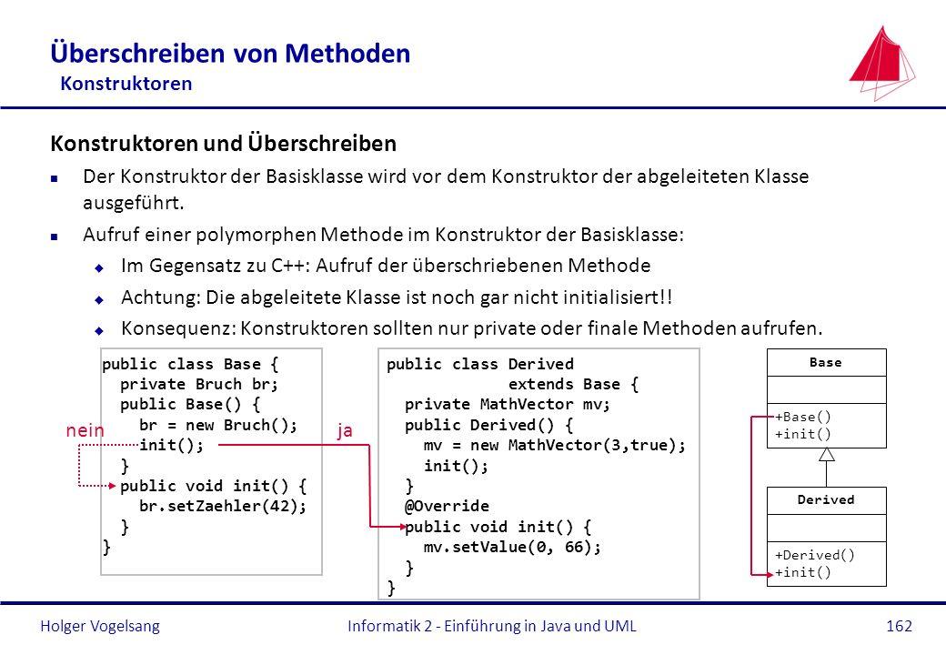 Holger VogelsangInformatik 2 - Einführung in Java und UML162 Überschreiben von Methoden Konstruktoren Konstruktoren und Überschreiben n Der Konstrukto