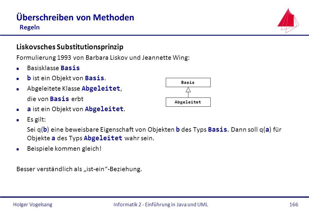 Holger Vogelsang Überschreiben von Methoden Regeln Liskovsches Substitutionsprinzip Formulierung 1993 von Barbara Liskov und Jeannette Wing: Basisklas