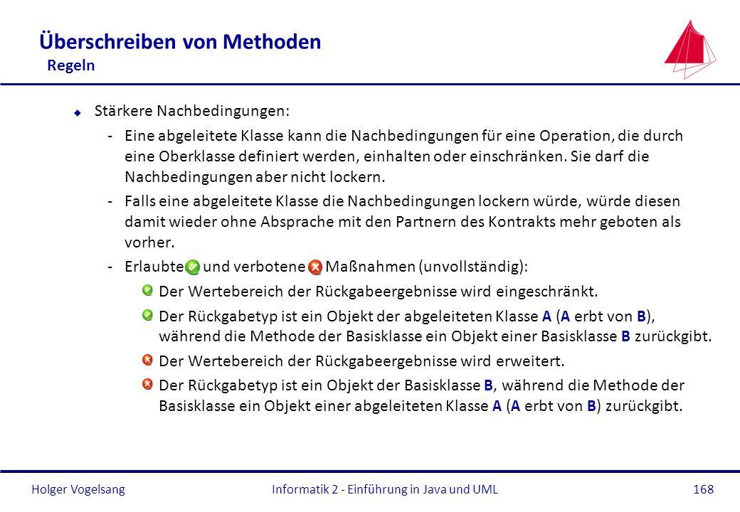 Holger Vogelsang Überschreiben von Methoden Regeln u Stärkere Nachbedingungen: -Eine abgeleitete Klasse kann die Nachbedingungen für eine Operation, d