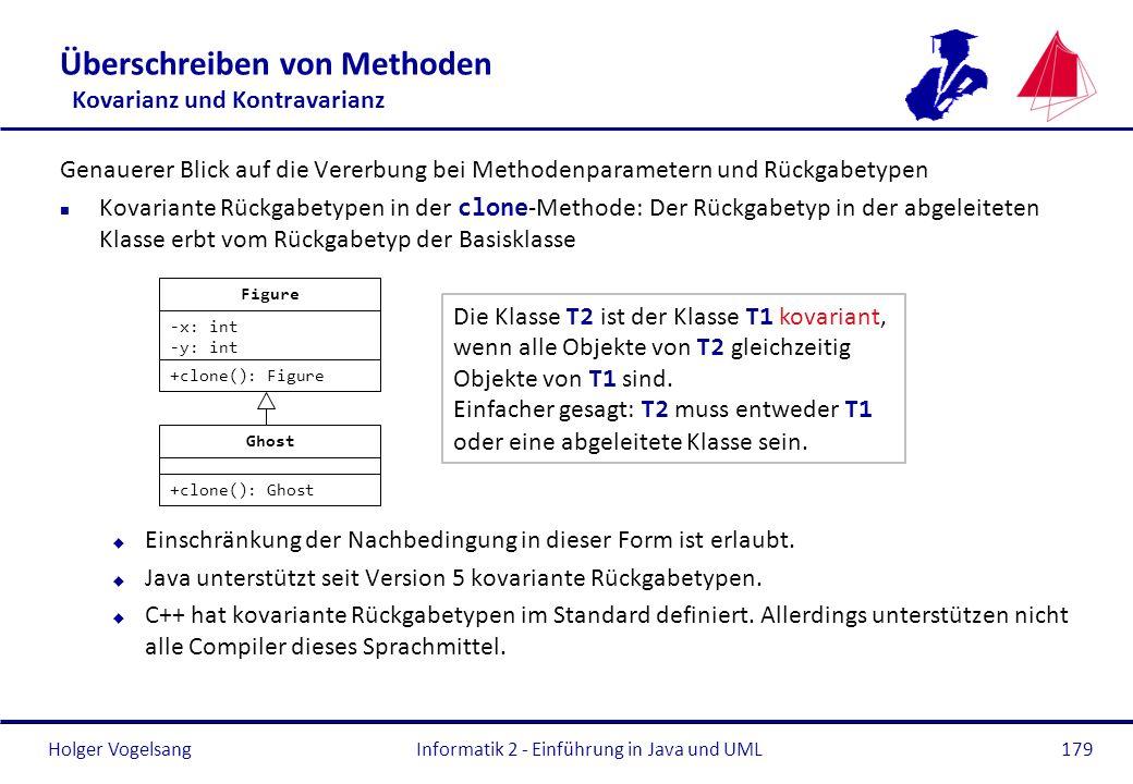 Holger Vogelsang Überschreiben von Methoden Kovarianz und Kontravarianz Genauerer Blick auf die Vererbung bei Methodenparametern und Rückgabetypen Kov