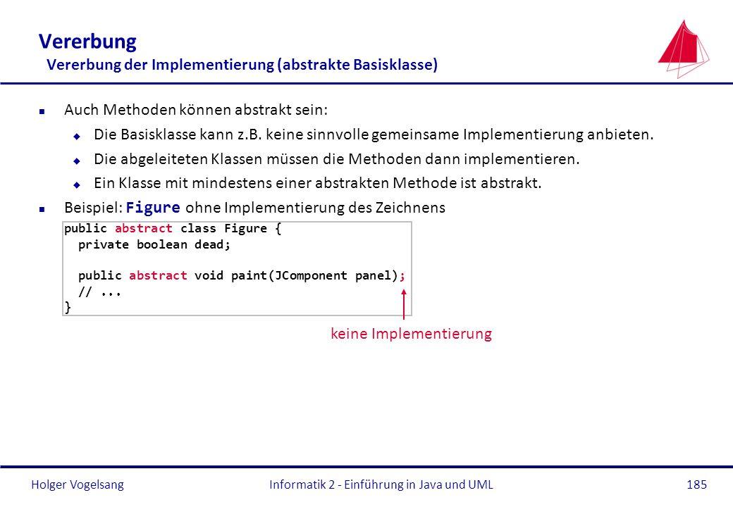 Holger VogelsangInformatik 2 - Einführung in Java und UML185 Vererbung Vererbung der Implementierung (abstrakte Basisklasse) n Auch Methoden können ab
