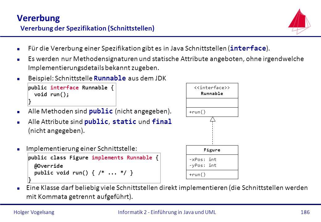 Holger VogelsangInformatik 2 - Einführung in Java und UML186 Vererbung Vererbung der Spezifikation (Schnittstellen) Für die Vererbung einer Spezifikat