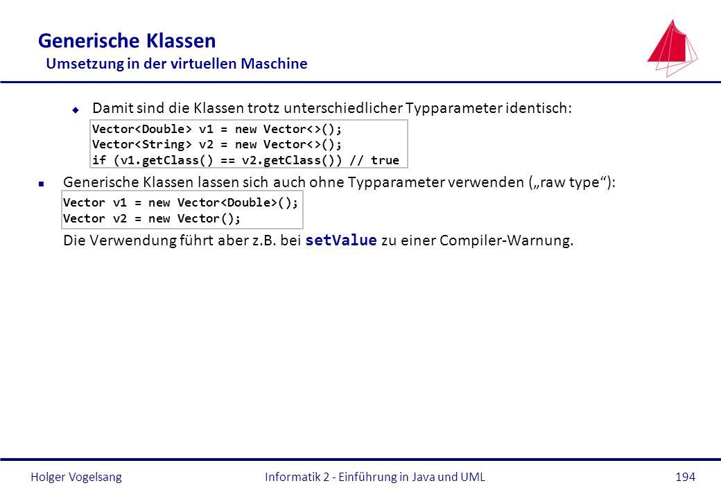 Holger Vogelsang Generische Klassen Umsetzung in der virtuellen Maschine u Damit sind die Klassen trotz unterschiedlicher Typparameter identisch: Vect