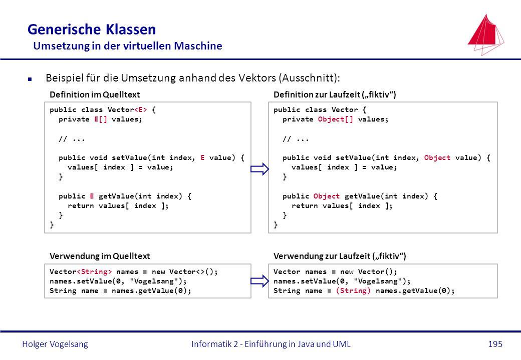 Holger VogelsangInformatik 2 - Einführung in Java und UML195 Generische Klassen Umsetzung in der virtuellen Maschine n Beispiel für die Umsetzung anha