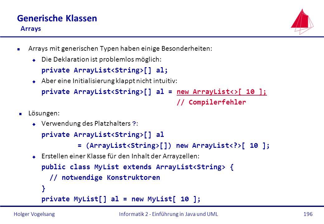Holger Vogelsang Generische Klassen Arrays n Arrays mit generischen Typen haben einige Besonderheiten: u Die Deklaration ist problemlos möglich: priva