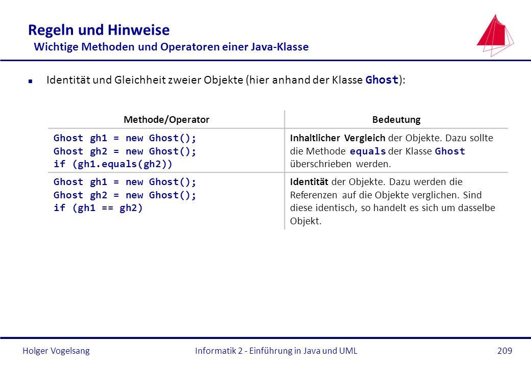 Holger VogelsangInformatik 2 - Einführung in Java und UML209 Regeln und Hinweise Wichtige Methoden und Operatoren einer Java-Klasse Identität und Glei