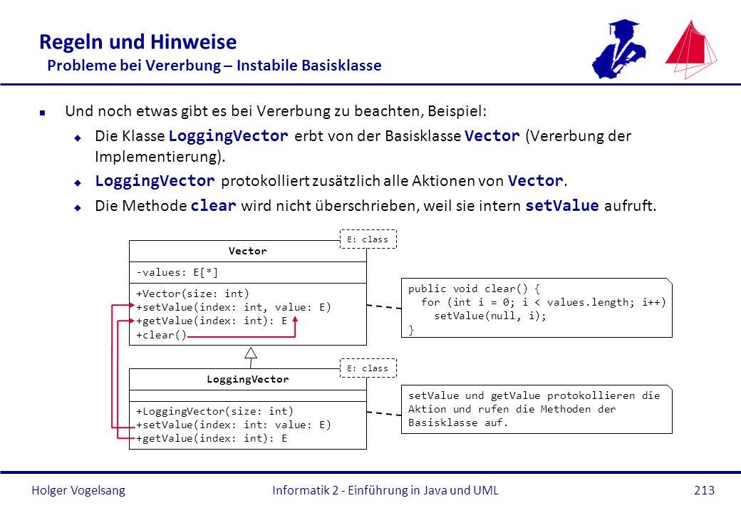 Holger Vogelsang Regeln und Hinweise Probleme bei Vererbung – Instabile Basisklasse n Und noch etwas gibt es bei Vererbung zu beachten, Beispiel: Die