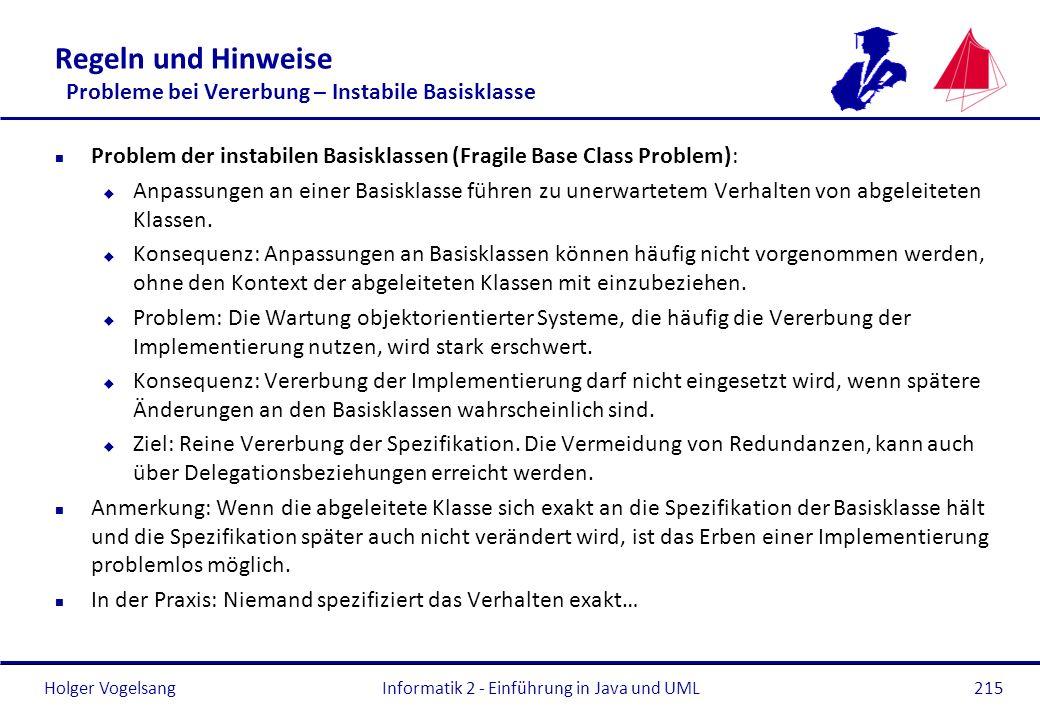 Holger Vogelsang Regeln und Hinweise Probleme bei Vererbung – Instabile Basisklasse n Problem der instabilen Basisklassen (Fragile Base Class Problem)