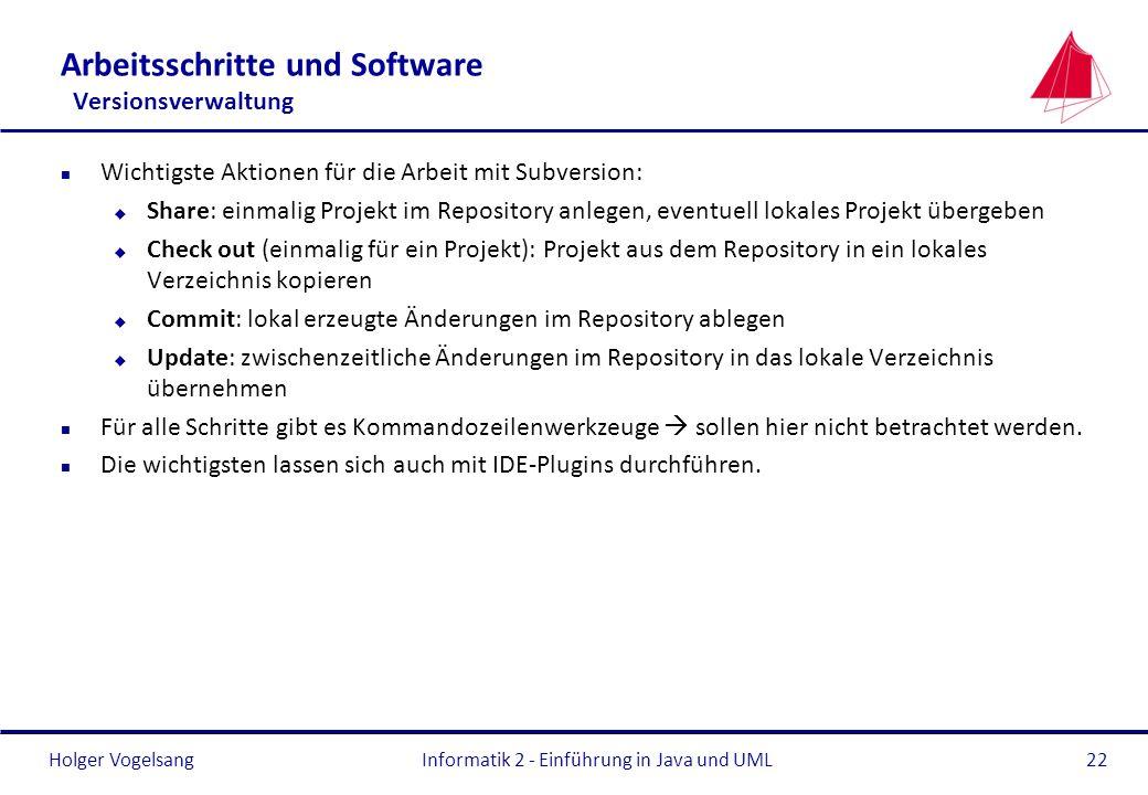 Holger Vogelsang Arbeitsschritte und Software Versionsverwaltung n Wichtigste Aktionen für die Arbeit mit Subversion: u Share: einmalig Projekt im Rep