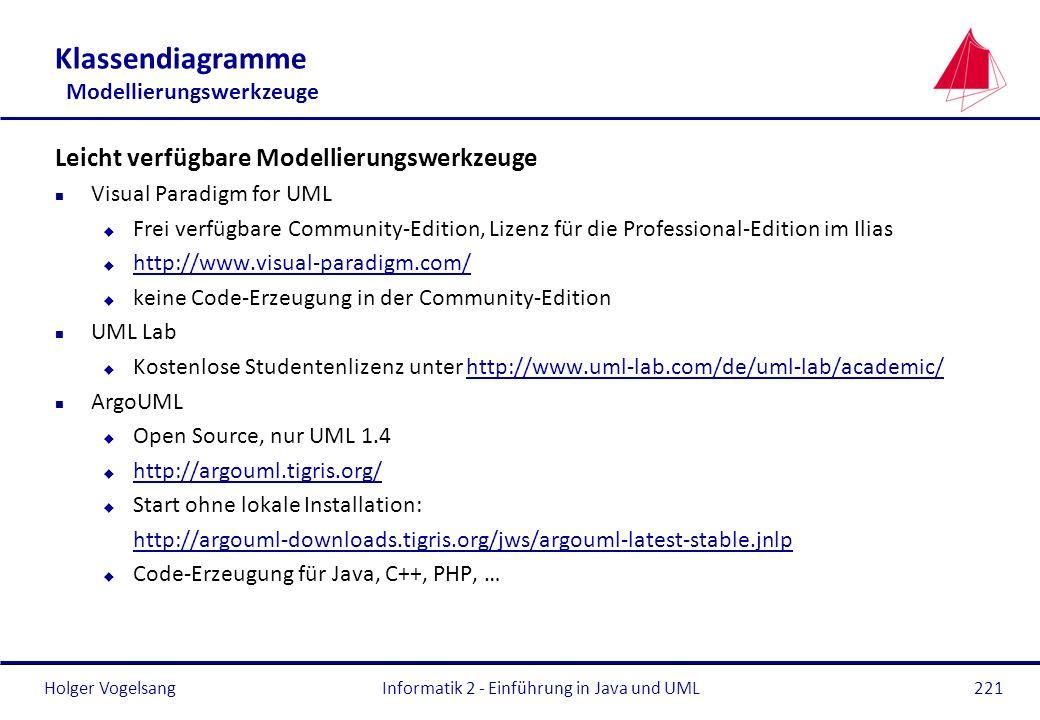 Holger VogelsangInformatik 2 - Einführung in Java und UML221 Klassendiagramme Modellierungswerkzeuge Leicht verfügbare Modellierungswerkzeuge n Visual