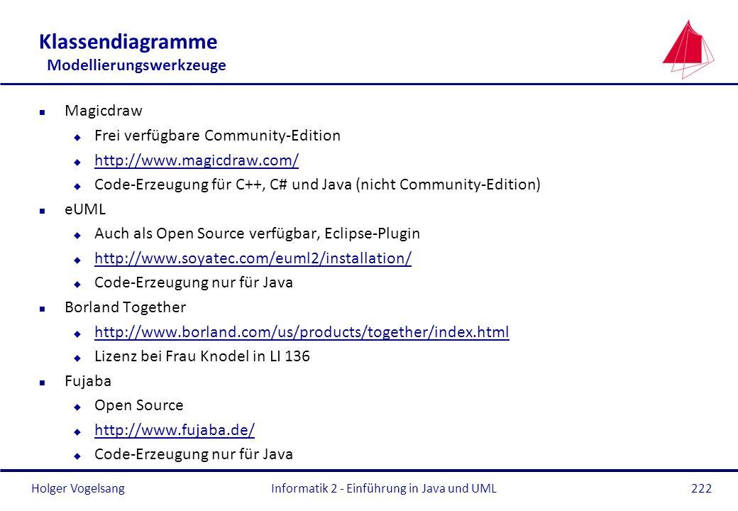Holger Vogelsang Klassendiagramme Modellierungswerkzeuge n Magicdraw u Frei verfügbare Community-Edition u http://www.magicdraw.com/ http://www.magicd