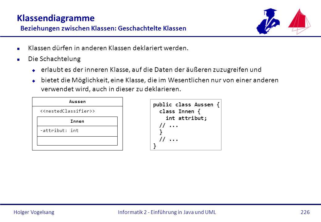 Holger Vogelsang Klassendiagramme Beziehungen zwischen Klassen: Geschachtelte Klassen n Klassen dürfen in anderen Klassen deklariert werden. n Die Sch