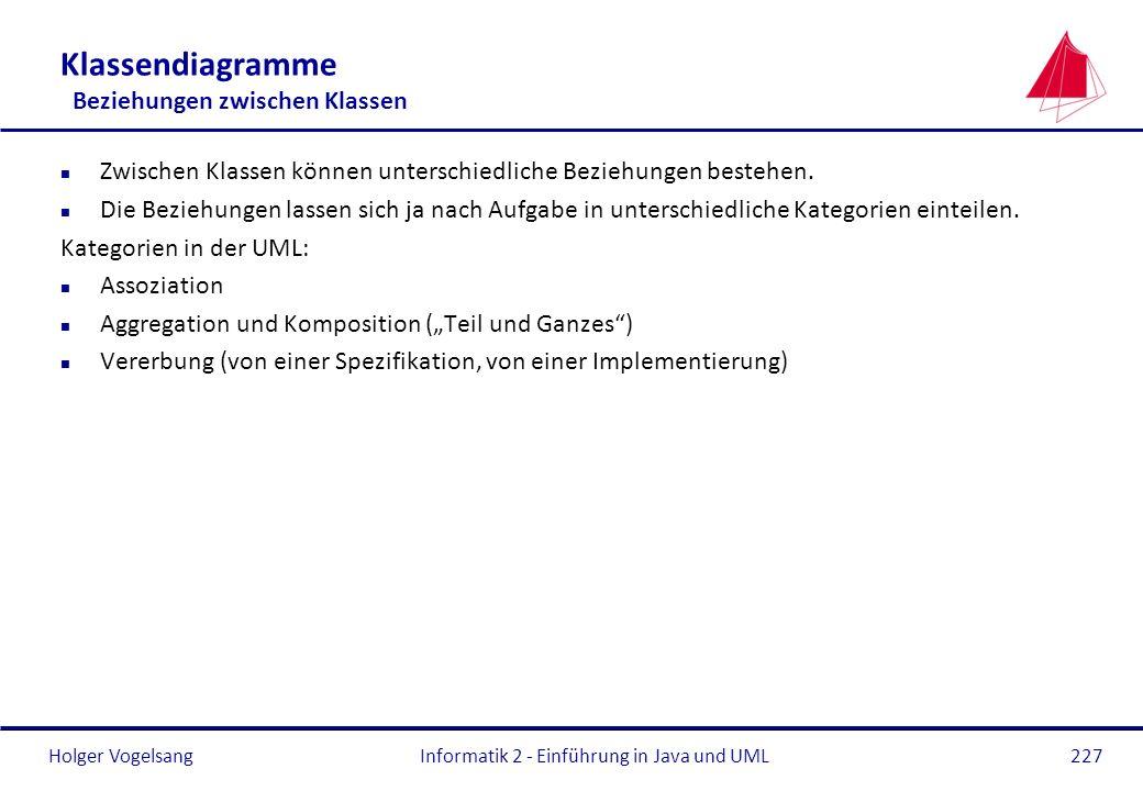 Holger VogelsangInformatik 2 - Einführung in Java und UML227 Klassendiagramme Beziehungen zwischen Klassen n Zwischen Klassen können unterschiedliche