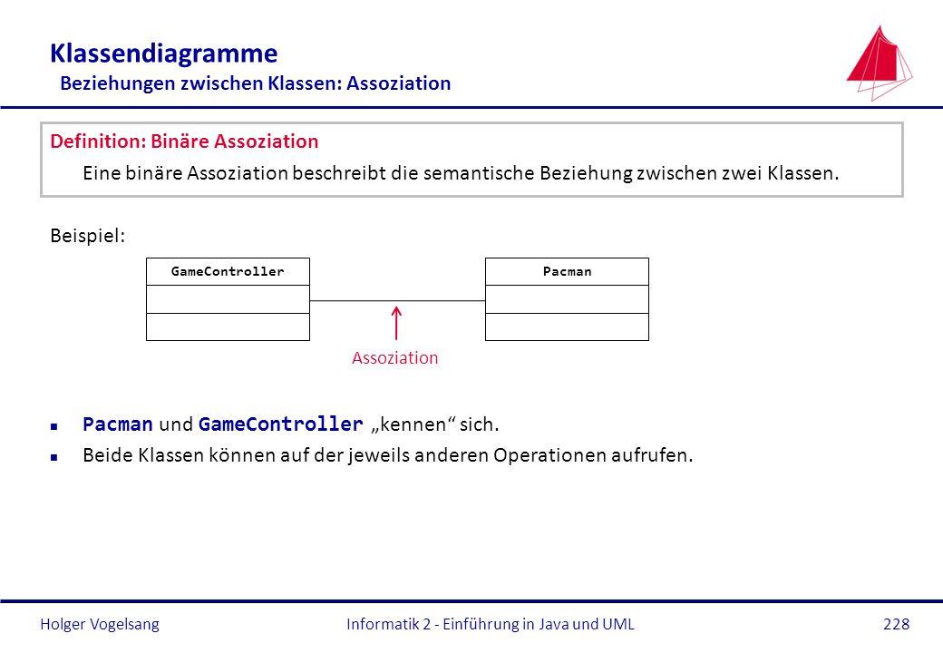 Holger Vogelsang Klassendiagramme Beziehungen zwischen Klassen: Assoziation Definition: Binäre Assoziation Eine binäre Assoziation beschreibt die sema