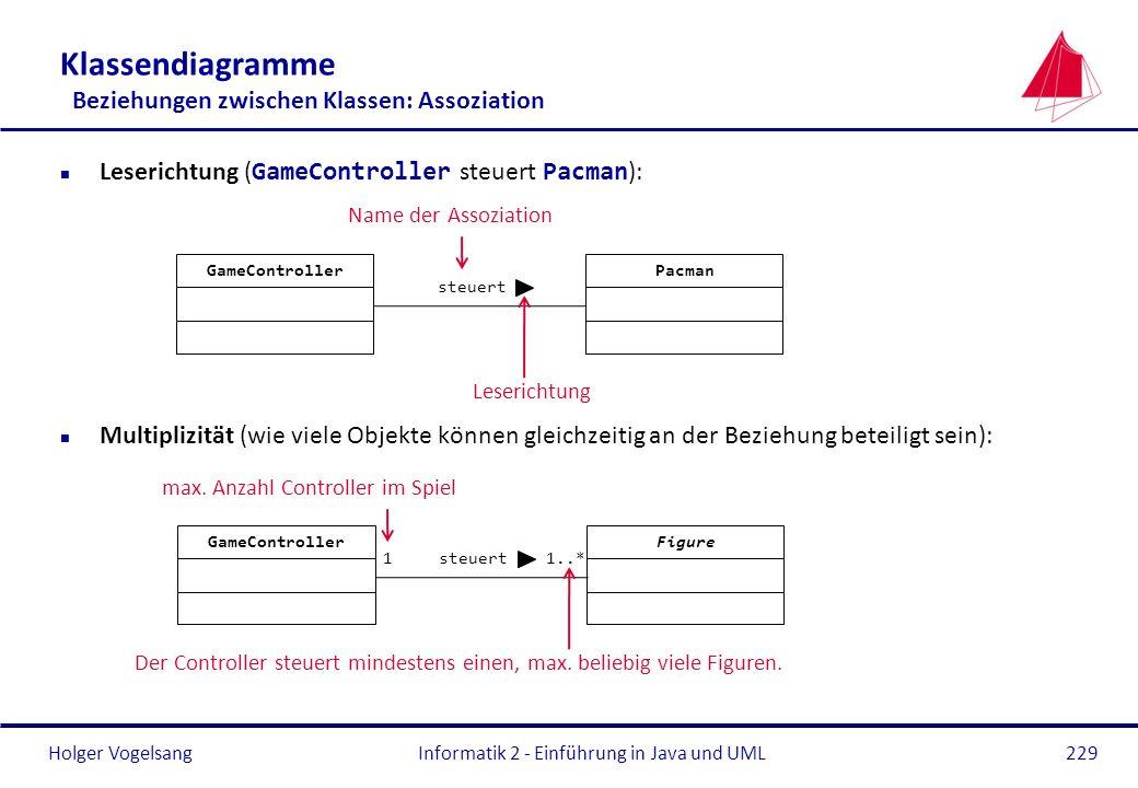 Holger Vogelsang Klassendiagramme Beziehungen zwischen Klassen: Assoziation Leserichtung ( GameController steuert Pacman ): n Multiplizität (wie viele