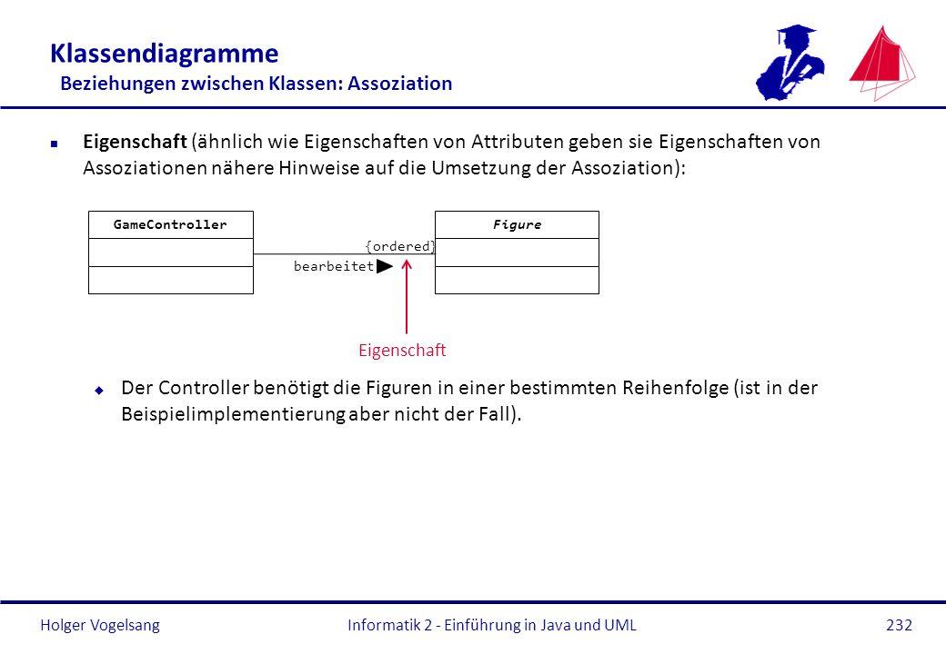 Holger Vogelsang Klassendiagramme Beziehungen zwischen Klassen: Assoziation n Eigenschaft (ähnlich wie Eigenschaften von Attributen geben sie Eigensch