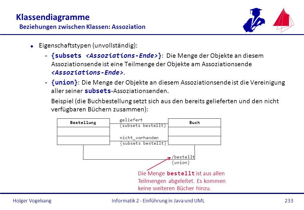 Holger Vogelsang Klassendiagramme Beziehungen zwischen Klassen: Assoziation u Eigenschaftstypen (unvollständig): -{subsets } : Die Menge der Objekte a