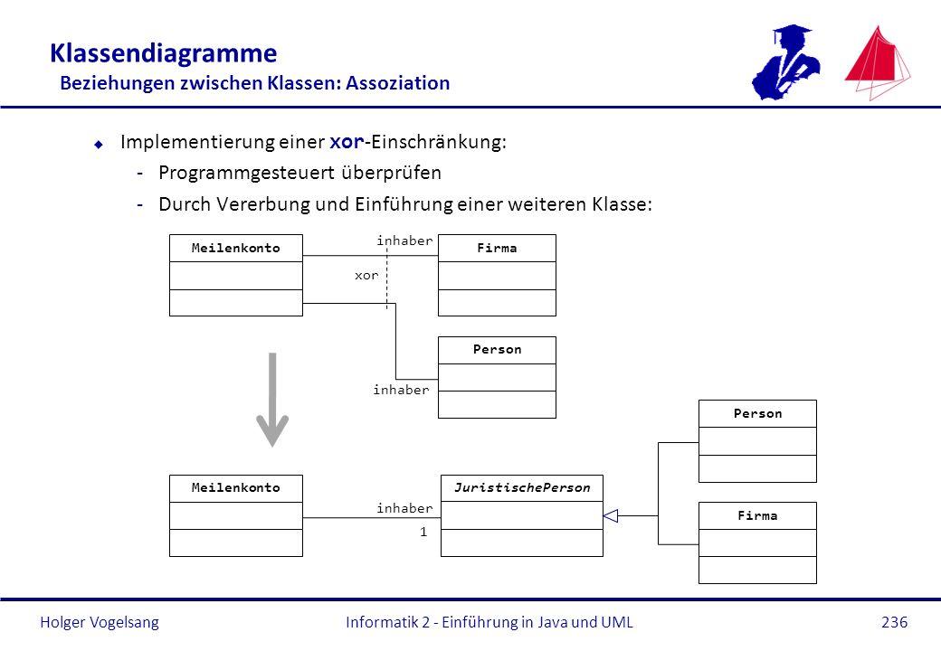 Holger Vogelsang Klassendiagramme Beziehungen zwischen Klassen: Assoziation Implementierung einer xor -Einschränkung: -Programmgesteuert überprüfen -D
