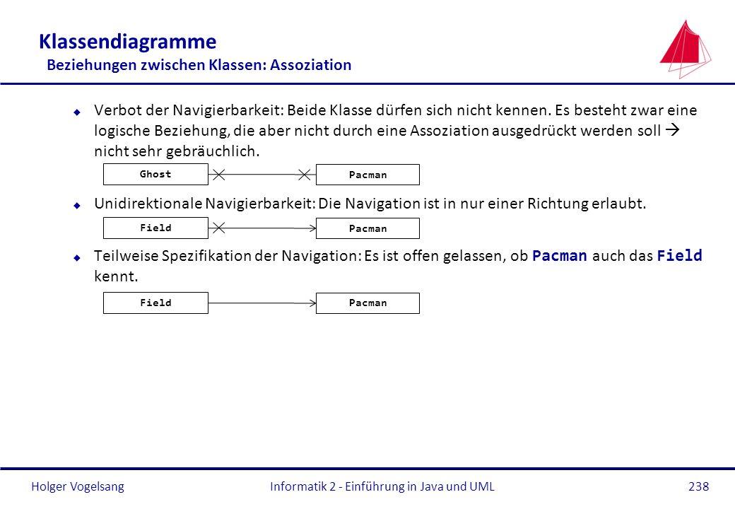 Holger Vogelsang Klassendiagramme Beziehungen zwischen Klassen: Assoziation u Verbot der Navigierbarkeit: Beide Klasse dürfen sich nicht kennen. Es be