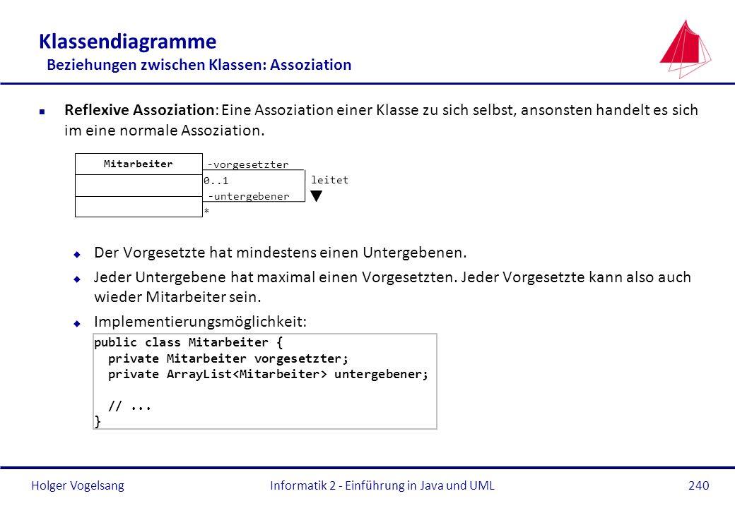 Holger Vogelsang Klassendiagramme Beziehungen zwischen Klassen: Assoziation n Reflexive Assoziation: Eine Assoziation einer Klasse zu sich selbst, ans