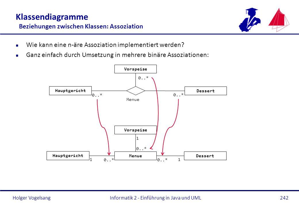 Holger Vogelsang Klassendiagramme Beziehungen zwischen Klassen: Assoziation n Wie kann eine n-äre Assoziation implementiert werden? n Ganz einfach dur
