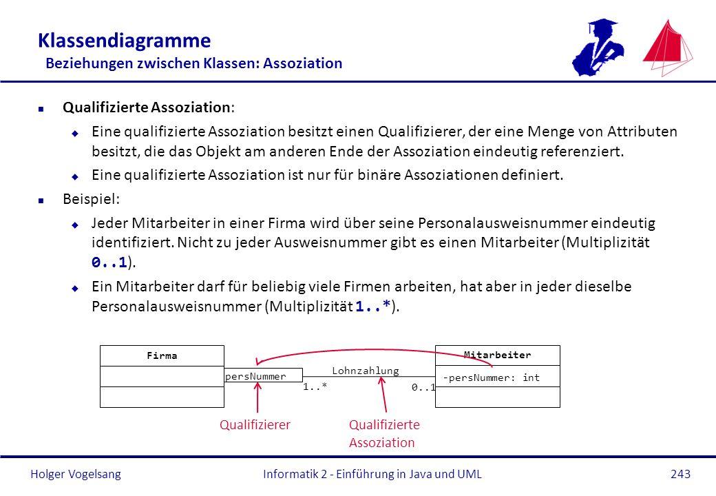 Holger Vogelsang Klassendiagramme Beziehungen zwischen Klassen: Assoziation n Qualifizierte Assoziation: u Eine qualifizierte Assoziation besitzt eine