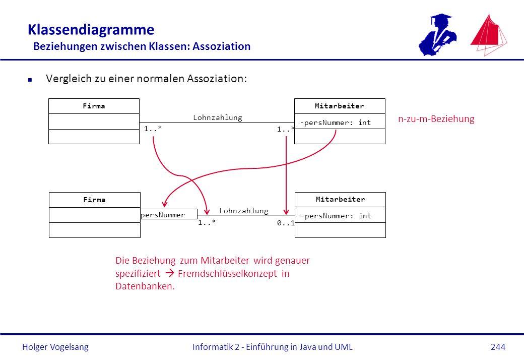 Holger Vogelsang Klassendiagramme Beziehungen zwischen Klassen: Assoziation n Vergleich zu einer normalen Assoziation: Informatik 2 - Einführung in Ja