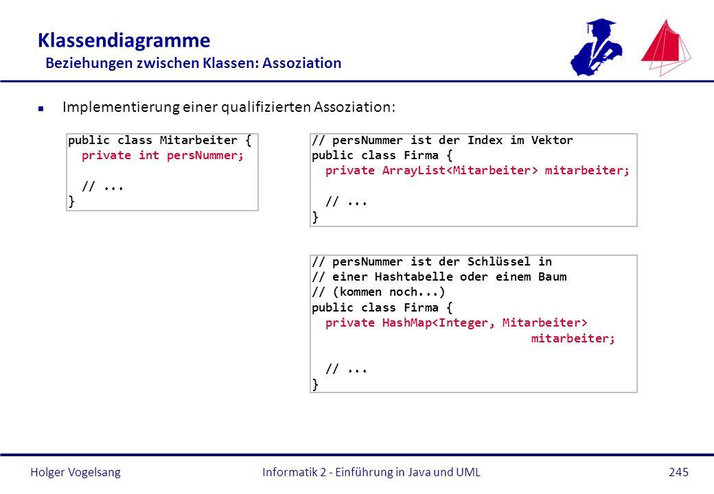 Holger Vogelsang Klassendiagramme Beziehungen zwischen Klassen: Assoziation n Implementierung einer qualifizierten Assoziation: Informatik 2 - Einführ