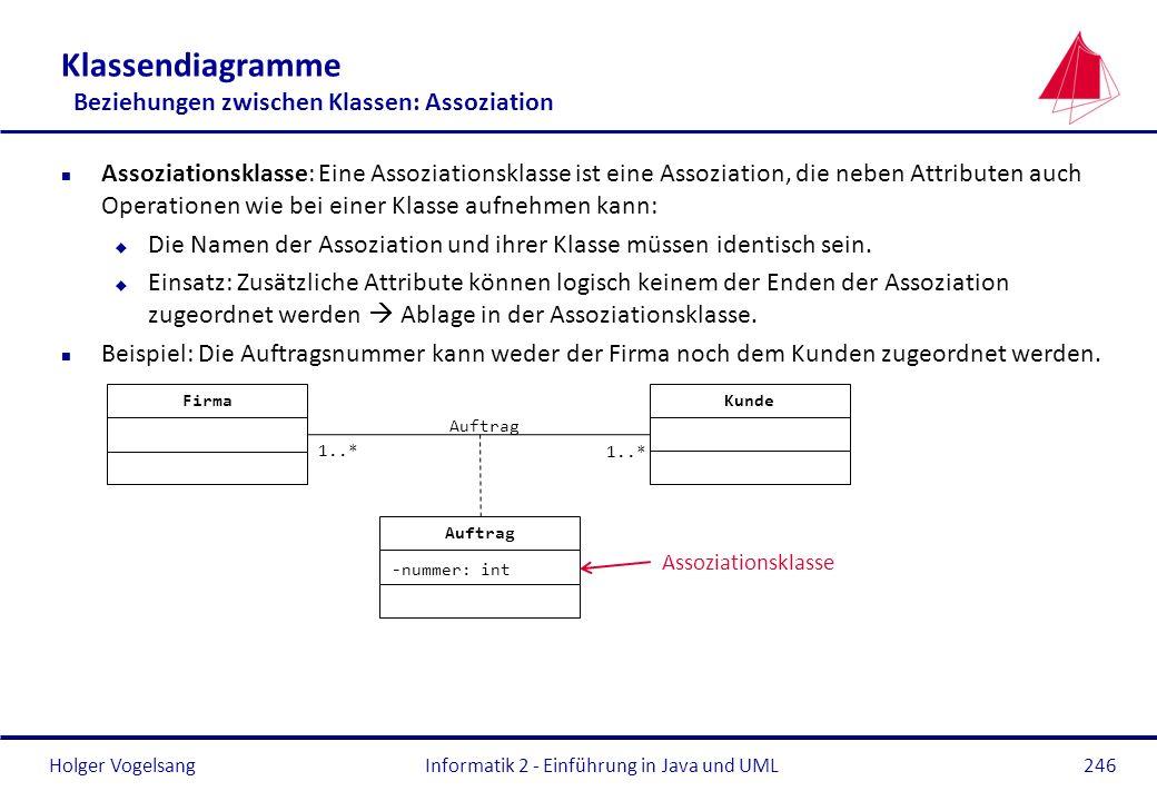 Holger Vogelsang Klassendiagramme Beziehungen zwischen Klassen: Assoziation n Assoziationsklasse: Eine Assoziationsklasse ist eine Assoziation, die ne
