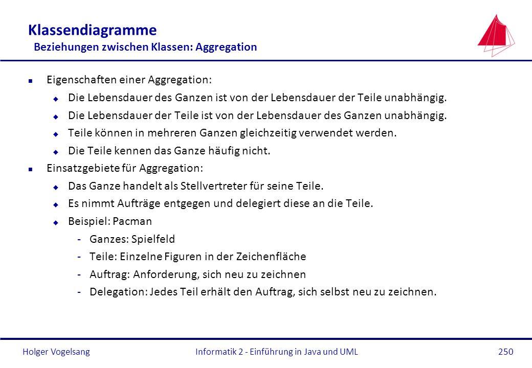 Holger Vogelsang Klassendiagramme Beziehungen zwischen Klassen: Aggregation n Eigenschaften einer Aggregation: u Die Lebensdauer des Ganzen ist von de