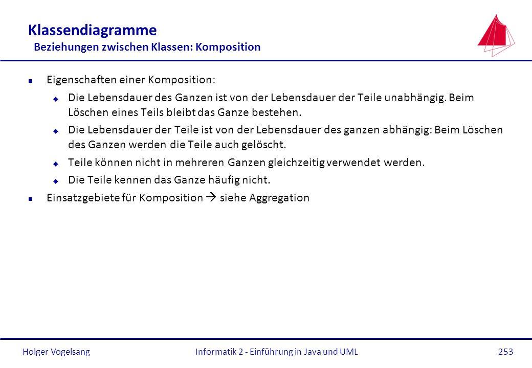 Holger Vogelsang Klassendiagramme Beziehungen zwischen Klassen: Komposition n Eigenschaften einer Komposition: u Die Lebensdauer des Ganzen ist von de