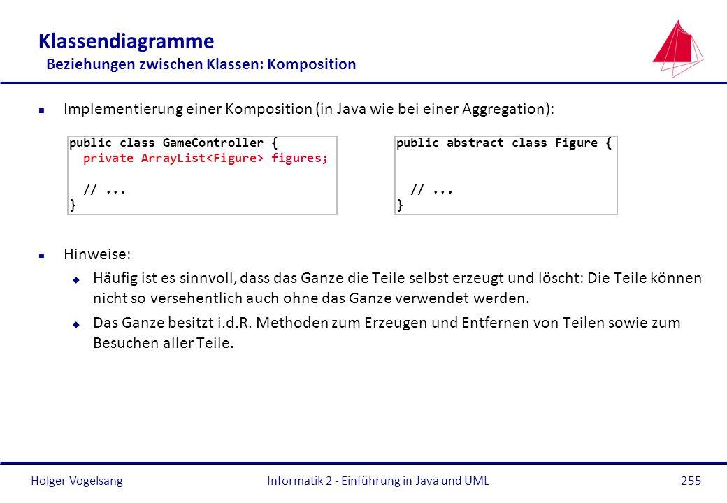 Holger Vogelsang Klassendiagramme Beziehungen zwischen Klassen: Komposition n Implementierung einer Komposition (in Java wie bei einer Aggregation): n