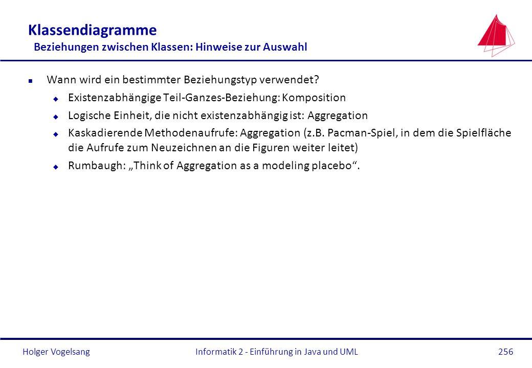Holger Vogelsang Klassendiagramme Beziehungen zwischen Klassen: Hinweise zur Auswahl n Wann wird ein bestimmter Beziehungstyp verwendet? u Existenzabh