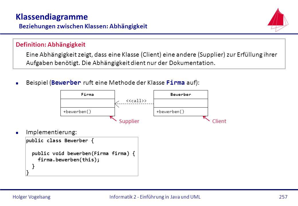 Holger Vogelsang Klassendiagramme Beziehungen zwischen Klassen: Abhängigkeit Definition: Abhängigkeit Eine Abhängigkeit zeigt, dass eine Klasse (Clien