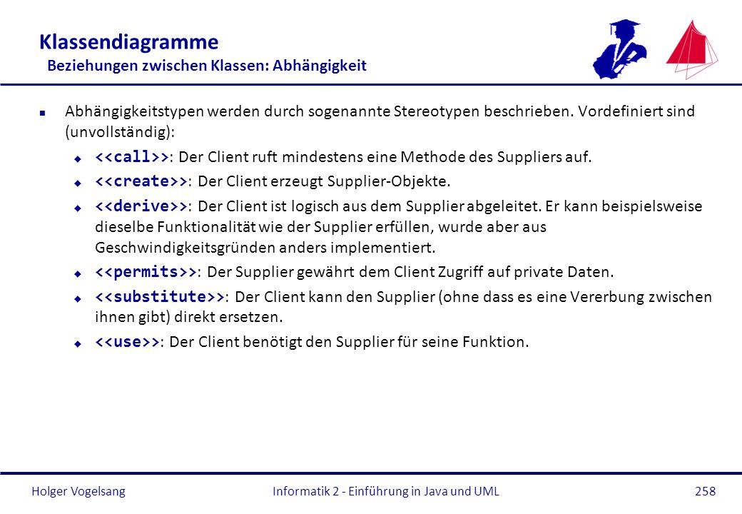 Holger Vogelsang Klassendiagramme Beziehungen zwischen Klassen: Abhängigkeit n Abhängigkeitstypen werden durch sogenannte Stereotypen beschrieben. Vor