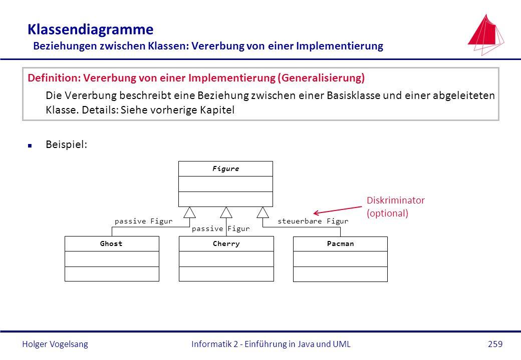 Holger Vogelsang Klassendiagramme Beziehungen zwischen Klassen: Vererbung von einer Implementierung Definition: Vererbung von einer Implementierung (G
