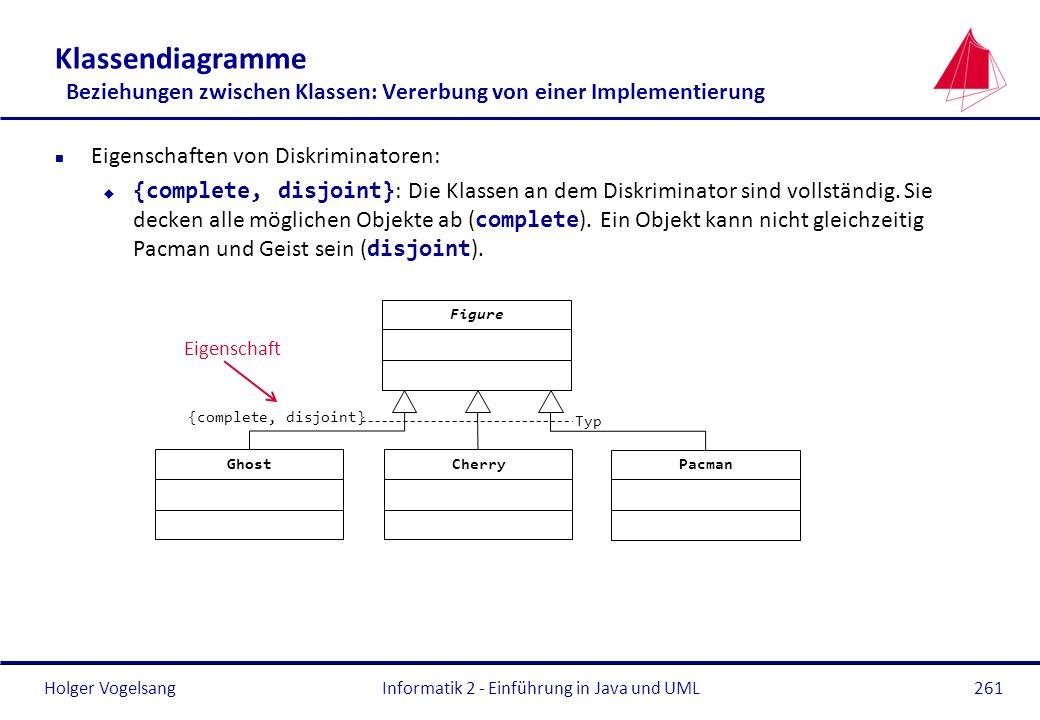 Holger Vogelsang Klassendiagramme Beziehungen zwischen Klassen: Vererbung von einer Implementierung n Eigenschaften von Diskriminatoren: {complete, di