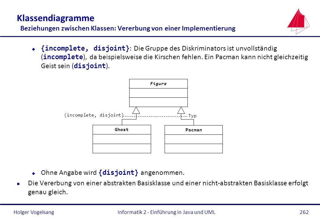 Holger Vogelsang Klassendiagramme Beziehungen zwischen Klassen: Vererbung von einer Implementierung {incomplete, disjoint} : Die Gruppe des Diskrimina