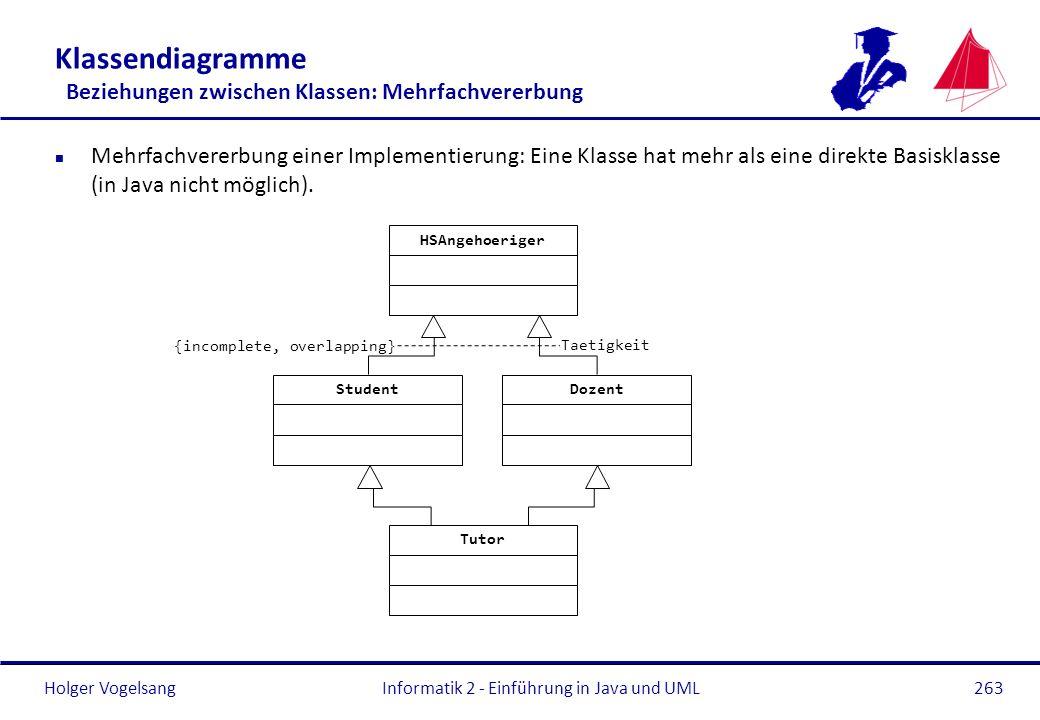 Holger Vogelsang Klassendiagramme Beziehungen zwischen Klassen: Mehrfachvererbung n Mehrfachvererbung einer Implementierung: Eine Klasse hat mehr als