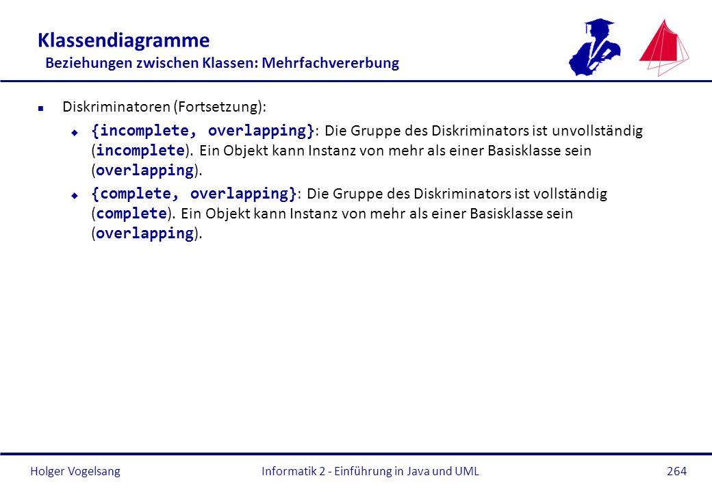 Holger Vogelsang Klassendiagramme Beziehungen zwischen Klassen: Mehrfachvererbung n Diskriminatoren (Fortsetzung): {incomplete, overlapping} : Die Gru