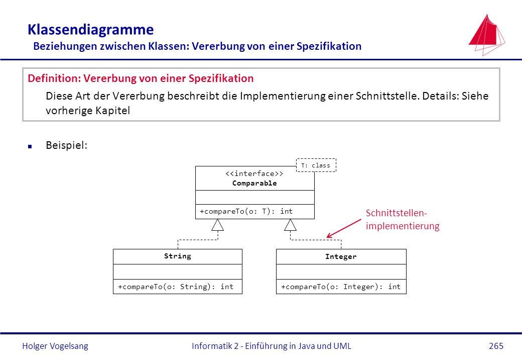 Holger Vogelsang Klassendiagramme Beziehungen zwischen Klassen: Vererbung von einer Spezifikation Definition: Vererbung von einer Spezifikation Diese