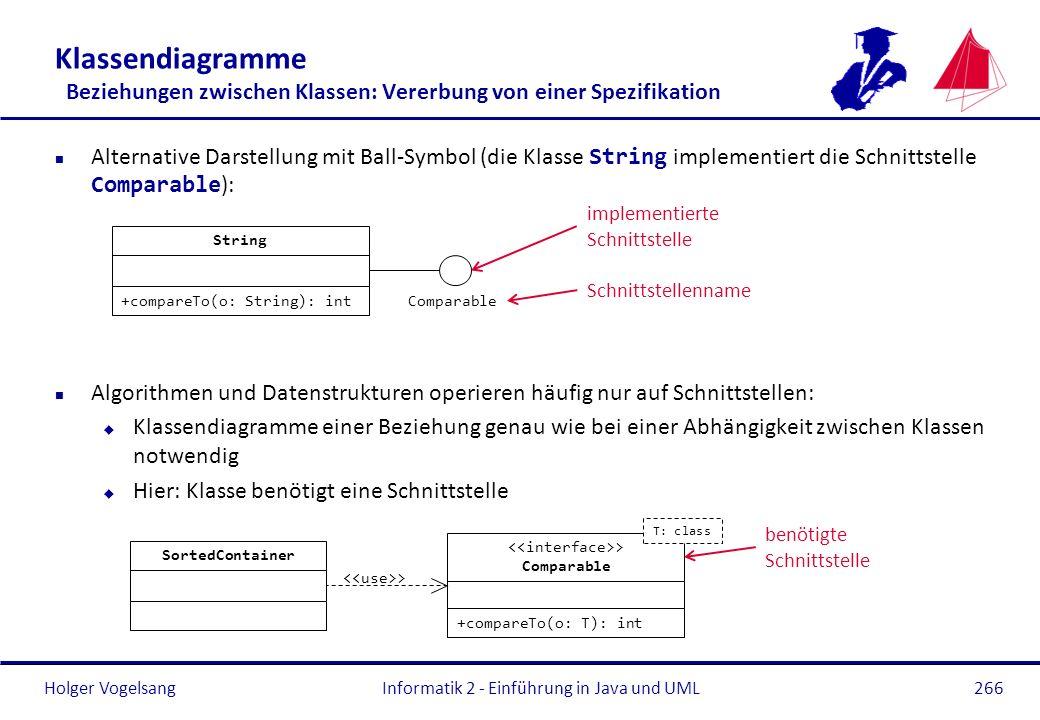 Holger Vogelsang Klassendiagramme Beziehungen zwischen Klassen: Vererbung von einer Spezifikation Alternative Darstellung mit Ball-Symbol (die Klasse