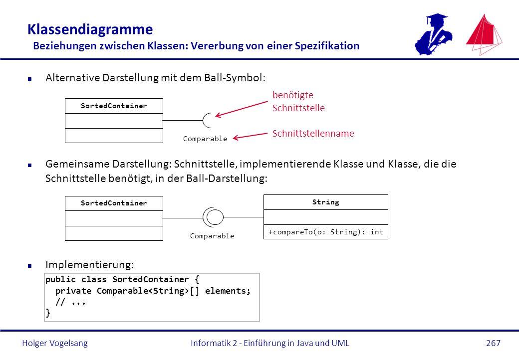 Holger Vogelsang Klassendiagramme Beziehungen zwischen Klassen: Vererbung von einer Spezifikation n Alternative Darstellung mit dem Ball-Symbol: n Gem