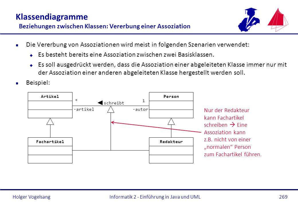 Holger Vogelsang Klassendiagramme Beziehungen zwischen Klassen: Vererbung einer Assoziation n Die Vererbung von Assoziationen wird meist in folgenden