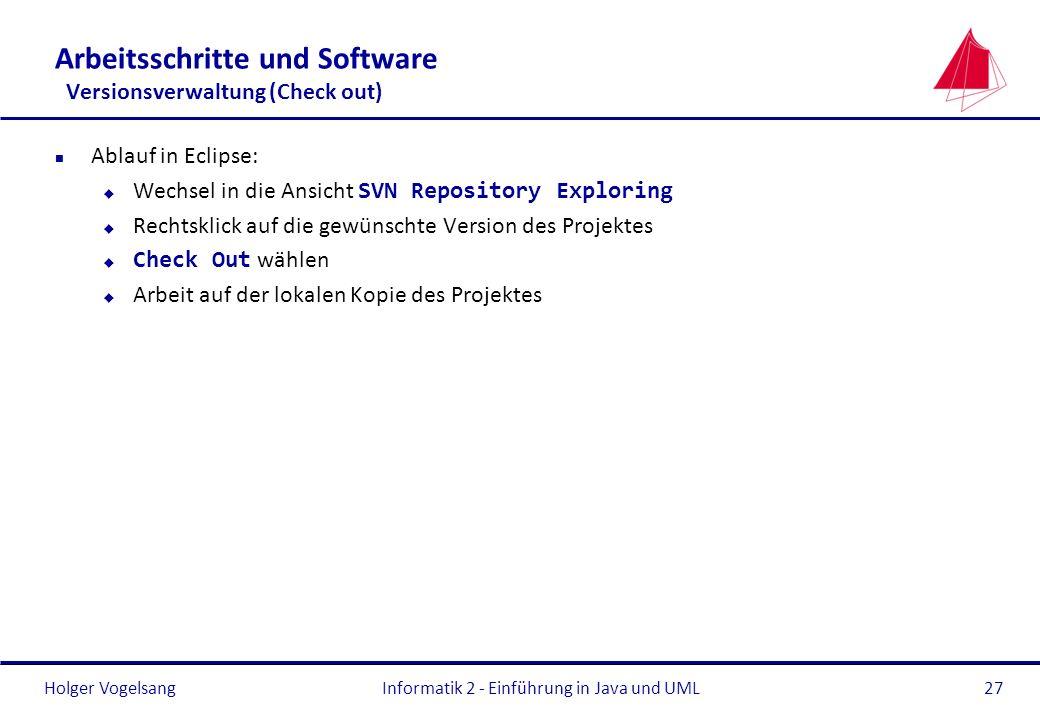 Holger Vogelsang Arbeitsschritte und Software Versionsverwaltung (Check out) n Ablauf in Eclipse: Wechsel in die Ansicht SVN Repository Exploring u Re