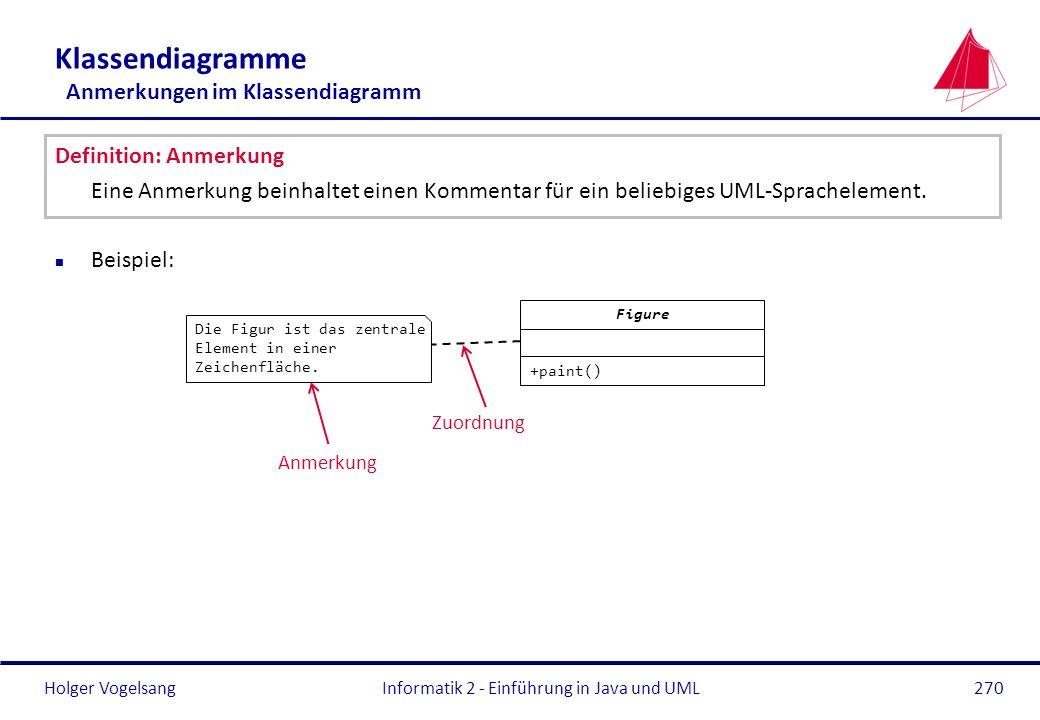 Holger Vogelsang Klassendiagramme Anmerkungen im Klassendiagramm Definition: Anmerkung Eine Anmerkung beinhaltet einen Kommentar für ein beliebiges UM