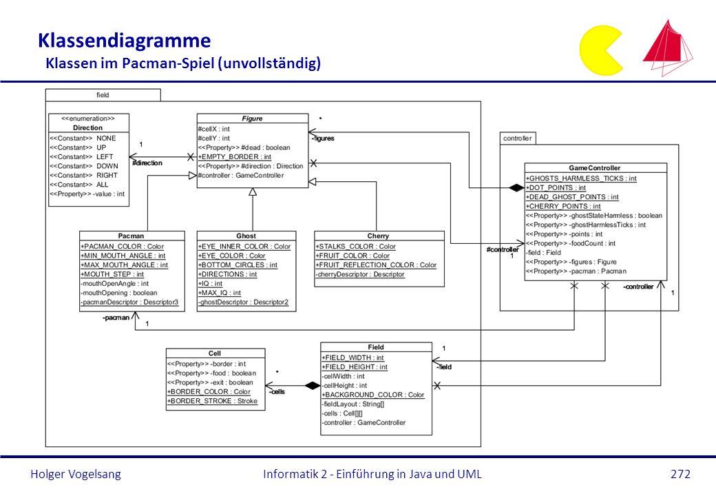 Holger VogelsangInformatik 2 - Einführung in Java und UML272 Klassendiagramme Klassen im Pacman-Spiel (unvollständig)