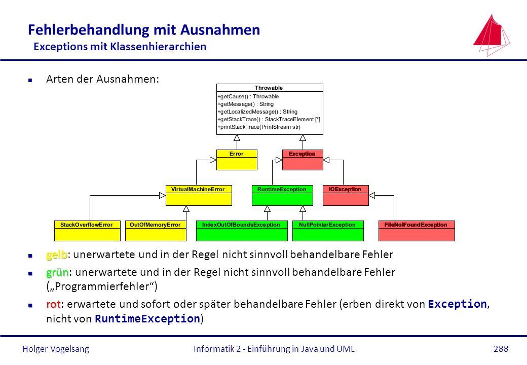 Holger Vogelsang Fehlerbehandlung mit Ausnahmen Exceptions mit Klassenhierarchien n Arten der Ausnahmen: n gelb n gelb: unerwartete und in der Regel n